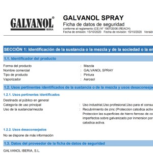 Galvanol Spray MSDS